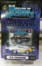Muscle Machine 1969 Dodge Charger Supercharged White w Flames 1/64 Scale MOPAR