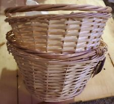 Spritz Natural Wood Color Wicker Basket With movable Handle Lot Of 2