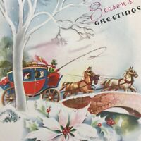 Vintage Early Mid Century Christmas Greeting Card Stagecoach Bridge Snowy Scene
