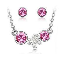 Kinder Schmuckset Kette + Anhänger + Ohrringe Silber Rosa Kristall Schmetterling