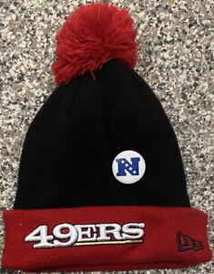 San Francisco 49ers Football NFL New Era Black & Red Beanie + Bonus NFC Pin