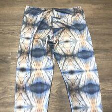 Onzie Leggings S/M Gray Blue Print Ikat Pants Hot Yoga
