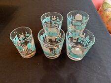 5 Vintage Blue Heaven Tumbler Glasses Barware Royal Mcm Retro Atomic Excellent!