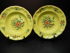 Luneville (France) Hand-painted Old Strasbourg set of 2 Soup Bowls Dark Yellow