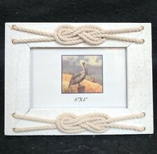 Timber Photo Frame w rope - beach / nautical / wedding / Gift Idea rustic 6x4""