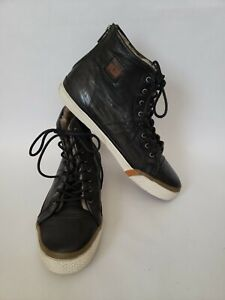 Frye Greene High Top Back Zip Shearling Black Leather Sneakers Shoes Womens 8.5M