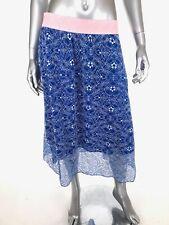 LuLaRoe Lola Lace Skirt Sz Large Blue White Pink Elastic Waistband Below Knee