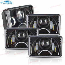 Black LED 4x6 Rectangular Projector LED Headlights Low High Beam DRL Lamps