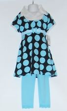Disorderly Kids Girls Empire Waist Polka Dot Two (2) Piece Dress Set Aqua 6 NWT