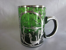 Old Silver Overlay Green Glass Mug