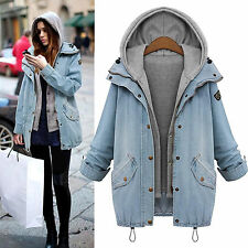 Womens Denim Jean Coat Hoodie Hooded 2Pcs Suit With Detachable Waistcoat Jacket