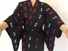 Authentic Nero Giapponese Kimono di cotone per le donne, il Giappone Importazione, buone c. (k860)