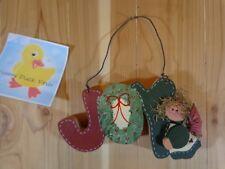 "Joy Wall Hanging 8"" Christmas Wreath Angel Doll Handmade Wood Wire"