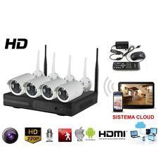 KIT VIDEOSORVEGLIANZA WIRELESS FULL HD IP 4 TELECAMERE WIFI DA REMOTO