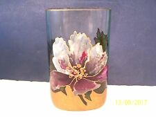 Art Glass Crystal Vase with Enameled Orchid