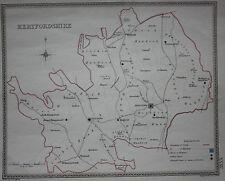 Original antique map, HERTFORDSHIRE, POLITICAL Samuel Lewis, J&C Walker, c.1835