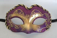 Venetian Masquerade Face Party Mask Purple & Gold * NEW * Express Post Option