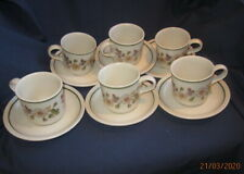AUTUMN LEAVES MARKS AND SPENCER M&S 6 X TEA CUPS AND SAUCERS VERY GOOD COND