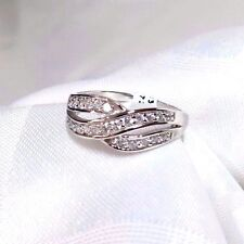 925 STERLING SILVER DUO LOOP CZ PAVE  RING SIZE 9