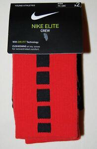 Nike Elite Crew Unisex Youth Red Cushioned Training Socks sz XXS Shoe Size 7-10