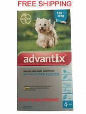 Bayer Advantix 4 pack small dog 4kg-10kg 9lb-22lb cyan flea tick lice mosquito