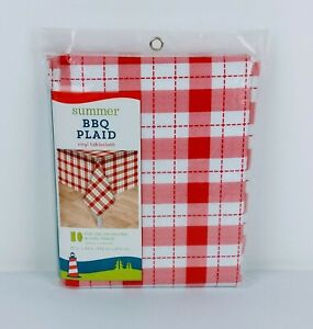Vinyl Tablecloth Plaid Red White Camping Picnic Party BBQ 60x84