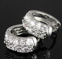 18K WHITE GOLD PLATED DIAMANTE HOOP HUGGIE EARRINGS USE SWAROVSKI CRYSTALS BLING