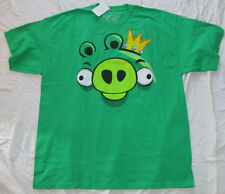 MENS T-SHIRT LARGE ANGRY BIRDS GREEN PIG KING GAME GRAPHIC TEE NOVELTY VIDEO NEW