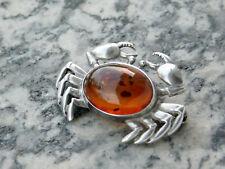 Brosche KRABBE Sterling Silber Bernstein 925 brooch crab amber silver