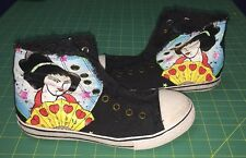 Womens Geisha Union Bay Black Hi Top Canvas Sneakers Lace Free Shoes Sz 6M
