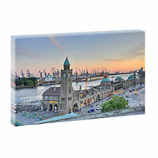 Hamburg Bild Keilrahmen Poster Leinwand Wandbild Landschaft  100 cm*65 cm 473