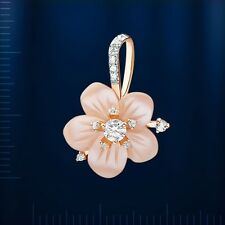 Russian solid rose gold 585/14k mother of pearl and CZ pendant Beautiful!