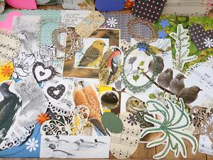 100 piece paper ephemera pack for junk journals and scrapbooks. Birds flowers