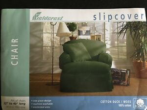Sure Fit Fieldcrest Chair Slipcover Moss Green Cotton 32 to 40""