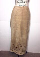 Margaret Godfrey Suede Leather Maxi Skirt Womens Size 4 Tan Back Slit Zip Up