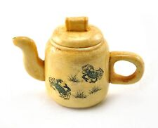 Vintage Chinese Bone Hand Carved Handmade Sealife Crab Flower Teapot Miniature