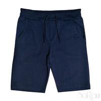 Pantaloni Tuta Corti Sportivo Laccetti Tasche Blu Cotone Casual Street Style