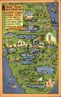 FLORIDA FL state map Cypress Gardens Singing Tower boats ~ 1930s