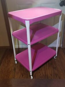 Vintage COSCO CART MID CENTURY 3 TIER  SERVING UTILITY GORGEOUS PINK COLOR NICE!