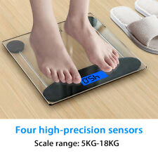 180KG Digital Body Weighing Scale Electronic LCD Bathroom Glass Weight Scales UK