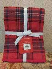 S2 Williams Sonoma Classic Red Tartan Plaid Kitchen Towels Christmas Holidays