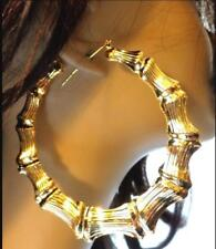 HUGE 3.5 inch HOOP EARRINGS Bamboo earrings - Old School GOLD TONE BAMBOO HOOPS