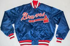 Vintage STARTER Atlanta Braves Diamond Collection USA Made Satin Navy Jacket XL