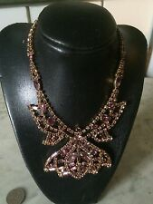 Chunky rare vintage CONTINENTAL opera crystal rhinestone '1950 lilac necklace
