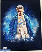 MILLIE BOBBY BROWN 11 SIGNED 11X14 METALLIC PHOTO STRANGER THINGS BAS COA 686