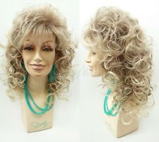 Mixed Blonde Brown Curly Wig Dolly Parton Long Bangs Synthetic Theater Drag 18""