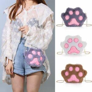 Fashion Sweet Chain Cute Crossbody Handbag Plush Cat Paw Shoulder Bag