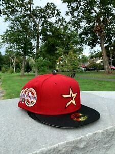 Hatclub Exclusive Houston Astros 7 5/8 Red Black 45 Years Patch Star 2 Two Tone