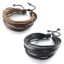 Sieraden 2st Brown & Black Wrap echte lederen bedelarmband met gevlochten touw