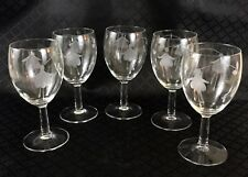 5 Fuchsia Etched Wine Glasses  Clear Engraved Flower Glass